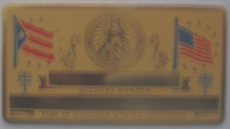 GOLD COLOR PUERTO RICO SACRED HEART SOCIAL SECURITY CARD