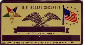 EASTERN STAR SOCIAL SECURITY CARD