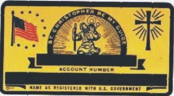 GOLD COLOR ST CHRISTOPHER SOCIAL SECURITY CARD