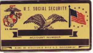 U.  S. MARINES SOCIAL SECURITY CARD