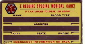 MEDICAL IDENTIFICATION CARD