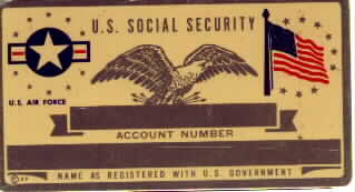 USAF SOCIAL SECURITY CARD
